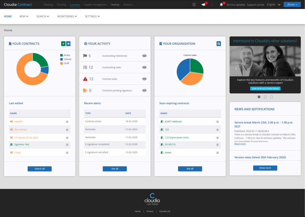 New interface provides a consistent view across all Cloudia services